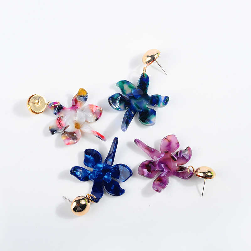 New Fashion Colorful Flower Dangle earring For Women Design Pendant Acrylic Irregular Flower Statement Earring Bohemian Jewelry