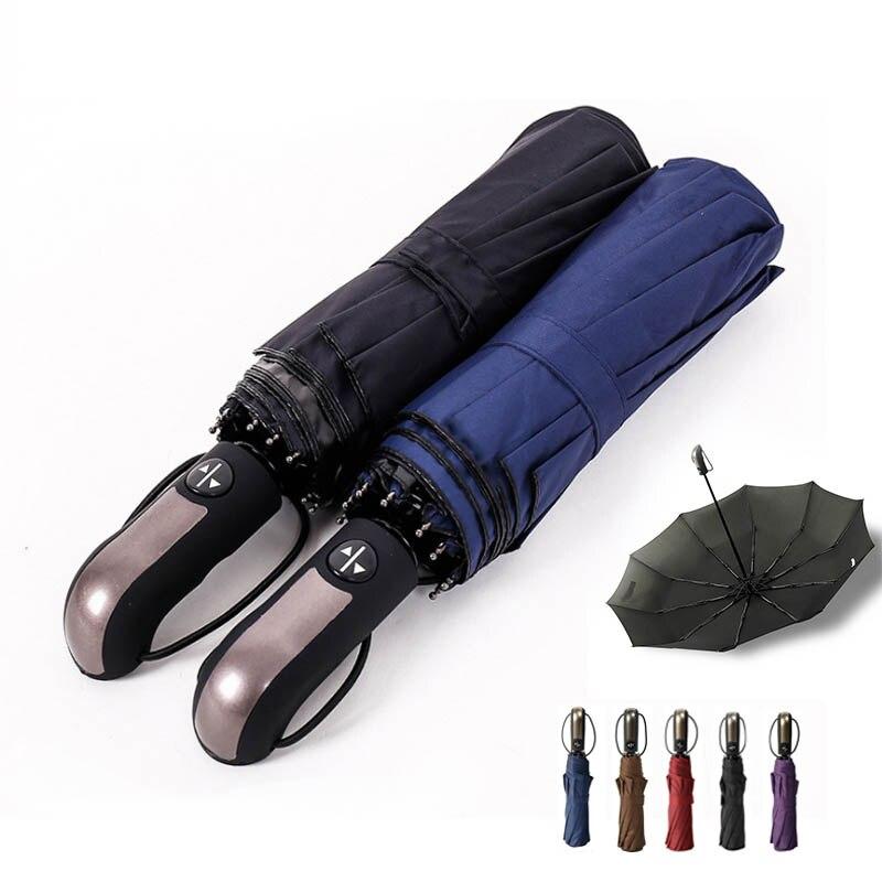 1 uniunid Portable Sunny lluvioso paraguas de doble propósito a prueba de viento 3 plegables 10 paraguas comerciales de hueso automático