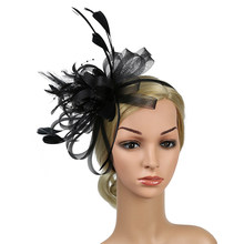 Bridal Hair Accessory Women Wedding Bowknot Fedoras Fascinator Headband Party Hat Cocktail Gift Feather Mesh Derby Day Church(China)