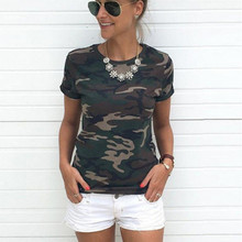hot deal buy women camouflage t shirt 2018 summer short sleeve t -shirt girls casual tops tees slim o -neck female cotton tops plus size