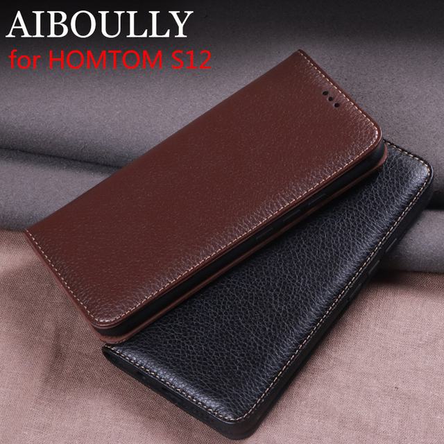 9365e5fab6 AIBOULLY For HOMTOM S12 Case Soft Silicone Back Flip Leather Cover Original  For HOMTOM S12 Case