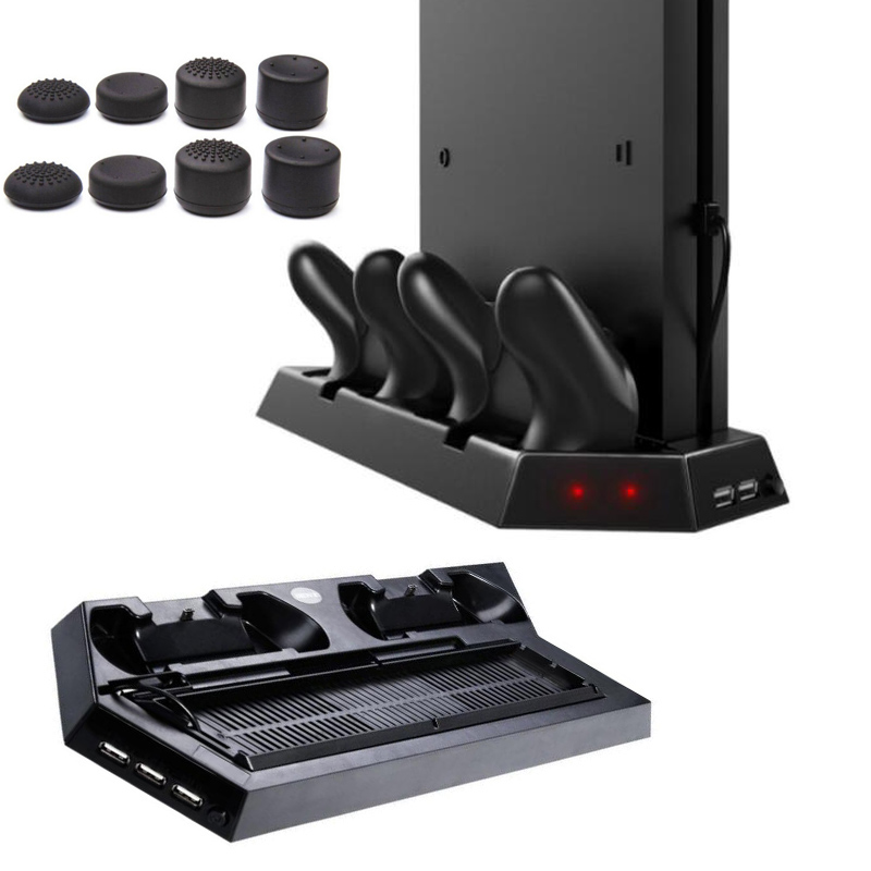 2 in 1 PS4 Slim PS4 Vertical Stand with Cooling Fan Charging Stand Dual USB HUB Charger Ports for PS4 Slim Playstation 4 PS4