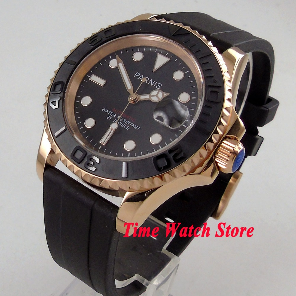 41mm Parnis GOLD CASE Sapphire glass brushed ceramic bezel rubber strap 21 jewels miyota automatic movement mens watch 104041mm Parnis GOLD CASE Sapphire glass brushed ceramic bezel rubber strap 21 jewels miyota automatic movement mens watch 1040