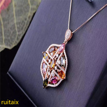 цена KJJEAXCMY boutique jewels S925 silver natural crystal tourmaline is really a necklace pendant with a necklace. онлайн в 2017 году
