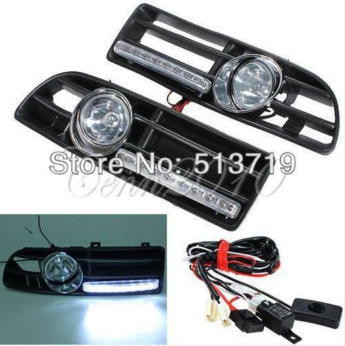 ФОТО Dongzhen LED Fog Light Day Running Lamp Front Bumper Grill For 99-04 VW Jetta Bora Mk4