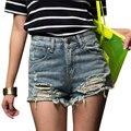 Venta caliente del verano Pantalones Cortos de Cintura Alta 2017 Pantalones Cortos de Mezclilla de La Vendimia Streetwear Ripped Jeans Cortos Agujero Desgastado Femenino Cortocircuitos Ocasionales XS-5XL
