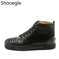 Men Spike Stud leather casual shoes rivets sneaker lace up flat high top men casual outdoor men shoes Zapatillas Hombre