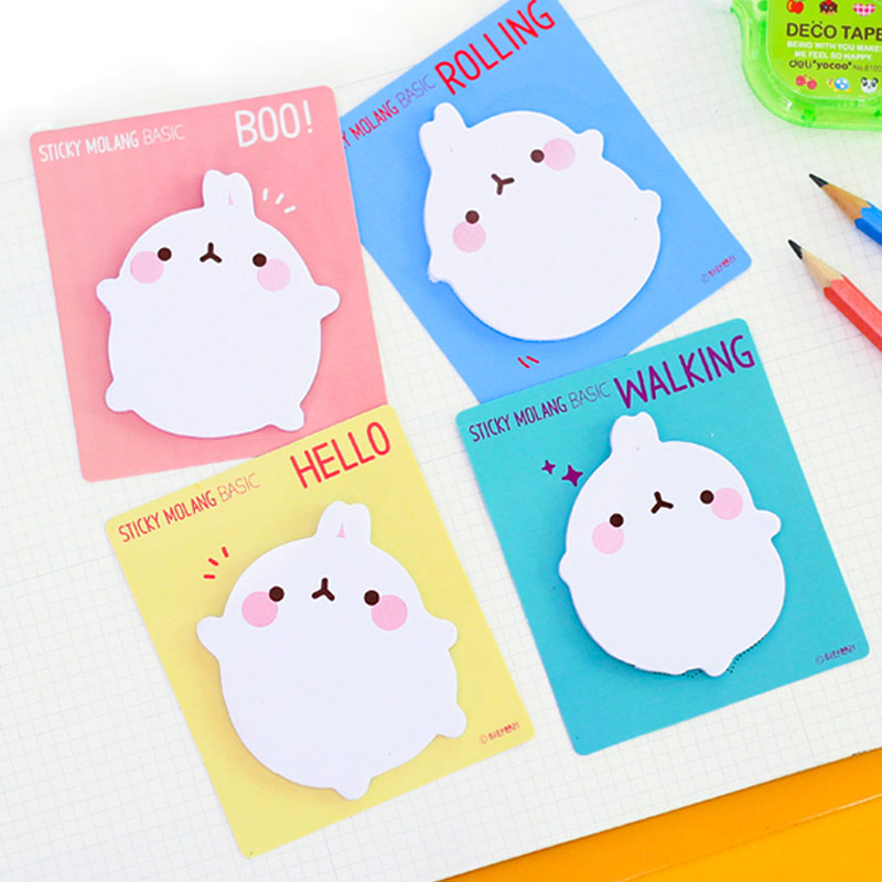 4X Cute Kawaii Rabbit Adhesive Memo Pad Sticky Notes DIY Decorative Stickers Kids Student Stationery School Office Supply