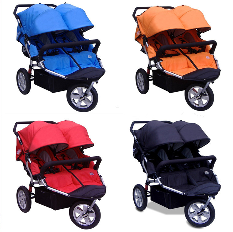 ФОТО twin baby jogger stroller tricycle wheel kids jogger for twins 2 baby seat