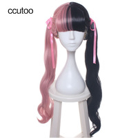 Ccutoo 70cm Female S Half Pink And Black Curly Long Synthetic Hair Cosplay Costume Wigs For