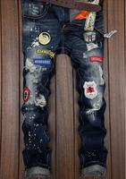 The Handsome Men Tide Hole Jeans Winter Straight Slim Korean Spring Tide Brand Personality Male