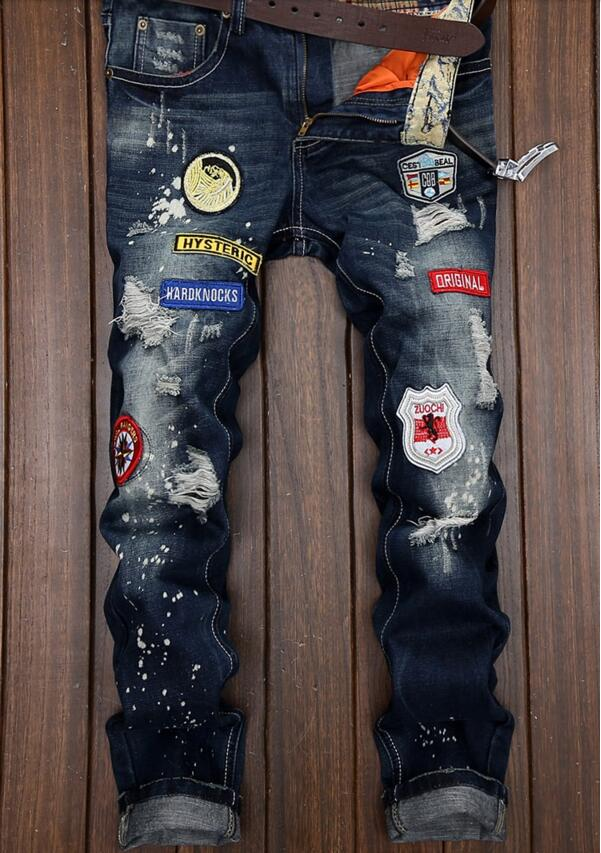2017 Sale Rushed Midweight Mid The Handsome Men Tide Jeans Winter Straight Korean Spring Brand Personality Male Beggar Pants