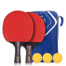 a145669206 1 par alta calidad Goma de raquetas de tenis de mesa elástico doble cara  con rápido ataque Ping Pong raquetas con 3 bolas bolsa .