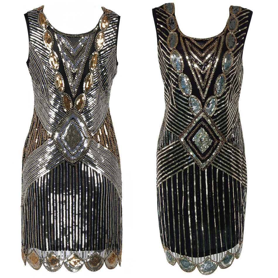 Buy Cheap Sequin Beading Vintage Flapper Dresses Roaring 1920s Gatsby Themed Party Dress Girl Loose Type Sleeveless Event Dress