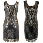 Save 5.05 on Sequin Beading Vintage Flapper Dresses Roaring 1920s Gatsby Themed Party Dress Girl Loose Type Sleeveless Event Dress
