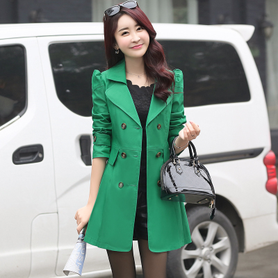 FTLZZ New Women's Trench Coat Spring Autumn Black Green Slim Double Breasted Windbreaker Outerwear Female Casual Trench Coat 5