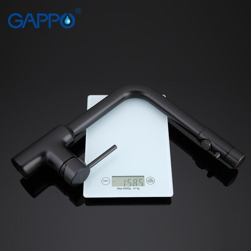 GAPPO robinet de cuisine avec robinet d'eau filtrée robinet d'évier de cuisine robinet filtré cuisine grue noire mitigeur torneira - 6