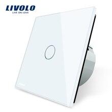 Livolo Lujo Cristal Blanco, Interruptor de la pared, Interruptor Del tacto, Normal de 1 Bandas Interruptor de 1 Vías, C701-11/2/5