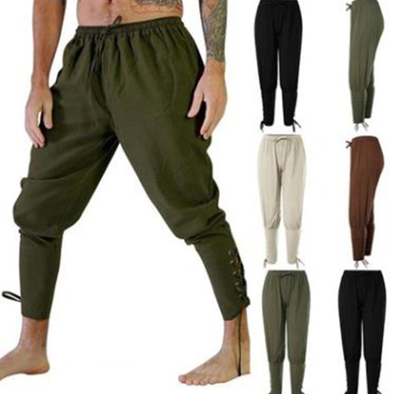 Adult Medieval Viking Pirate Navigator Costume Lace-Up Bandage Pants Larp Capris Trousers Vintage Woven Cotton Joggers For Men