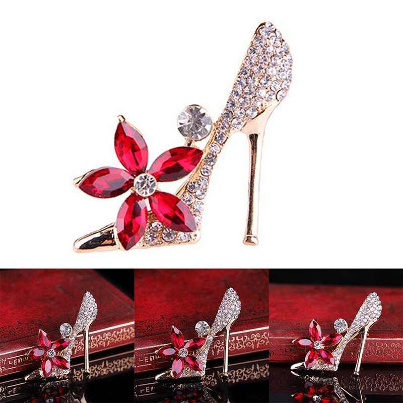 รองเท้าขนาดใหญ่คริสตัลชุดวินเทจเข็มกลัดผู้ชายสูทปกสีแดงดอกไม้เข็มกลัดเข็มกลัดสำหรับผู้หญิง