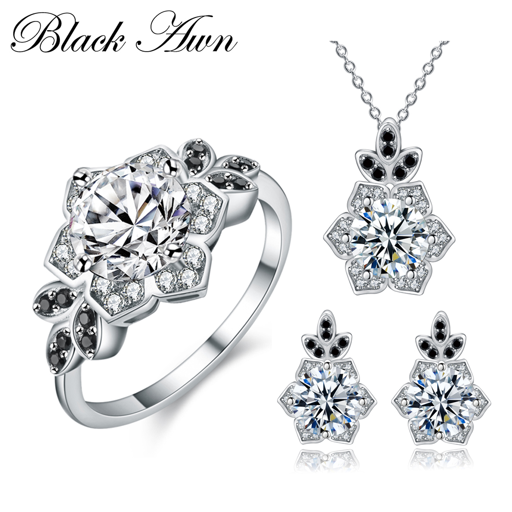 [BLACK AWN] 925 Sterling Silver Fine Jewelry Sets Trendy Engagement Sets Ring+Earring+Necklace for Women PTR151 [black awn] 925 sterling silver fine jewelry set trendy engagement wedding necklace earring for women pt161