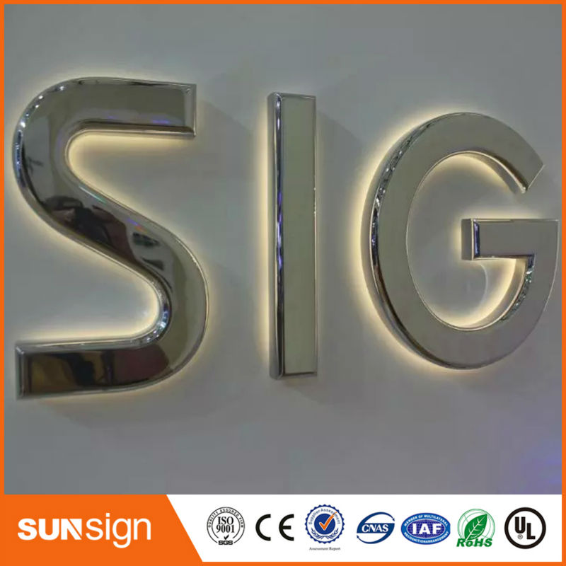 Stainless Steel Logo Sign Outdoor Lighting Letters Led Light Up Letters