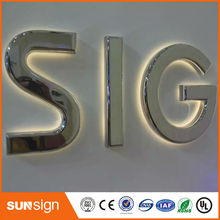 Stainless steel logo sign outdoor lighting letters led light up