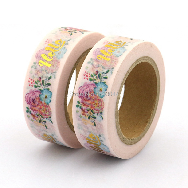 1pc Hello Flower Foil Washi Tape Japanese Paper DIY Planner Masking Tape Adhesive Tapes Stickers Decorative Stationery Tapes