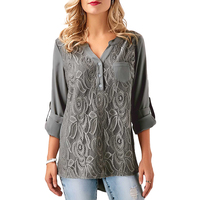 Woman Lace Blouse Long Sleeve Splice Basic V Neck Winter Autumn Loose Tops Tee Shirts Blusas