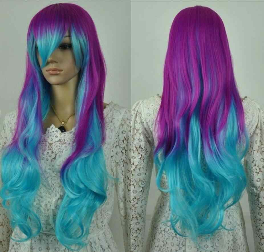 Парик косплей парик длинные волнистые озеро синий фиолетовый микс Аниме Костюм вечерние парик Бесплатная доставка