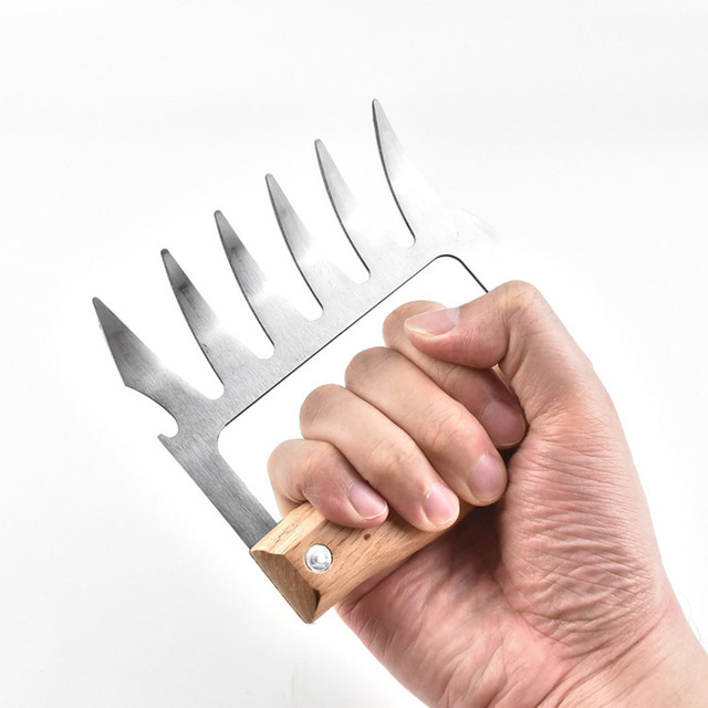 1 piece of stainless steel bear paws meat shredder with claws wood handle