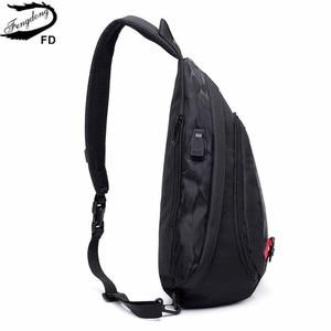 Image 4 - Fengdong עמיד למים בד זכר crossbody תיק קטן שחור הסוואה קלע חזה תיק כתף אחת שקיות לנשים bagpack daypack