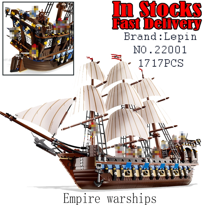 22001 1717Pcs LEPIN Pirates The Flagship Huge Ship Model Building Kit Blocks Bricks DIY Toys for children Gifts 10210 brinquedos lepin 22001 imperial flagship building bricks blocks toys for children boys game model car gift compatible with bela decool10210