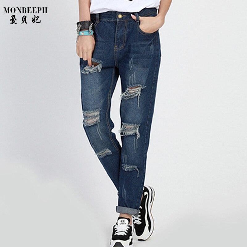Spring Autumn Hole Women Jeans Fashion Boyfriend Jeans For Woman Loose Size Hole Denim Pants Vintage Mid Waist Jeans Femme