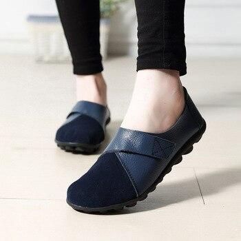Plardin Frauen Wohnungen Frühling Mode Komfort Echtem Leder Flache Schuhe Frau Slip Auf Weibliche Grüne Smaragd Schuhe zapatos mujer