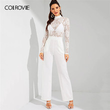 COLROVIE White Stand Collar Contrast Lace Sheer Wide Leg Elegant Jumpsuit Women 2019 Spring Long Sleeve Office Lady Jumpsuits(China)