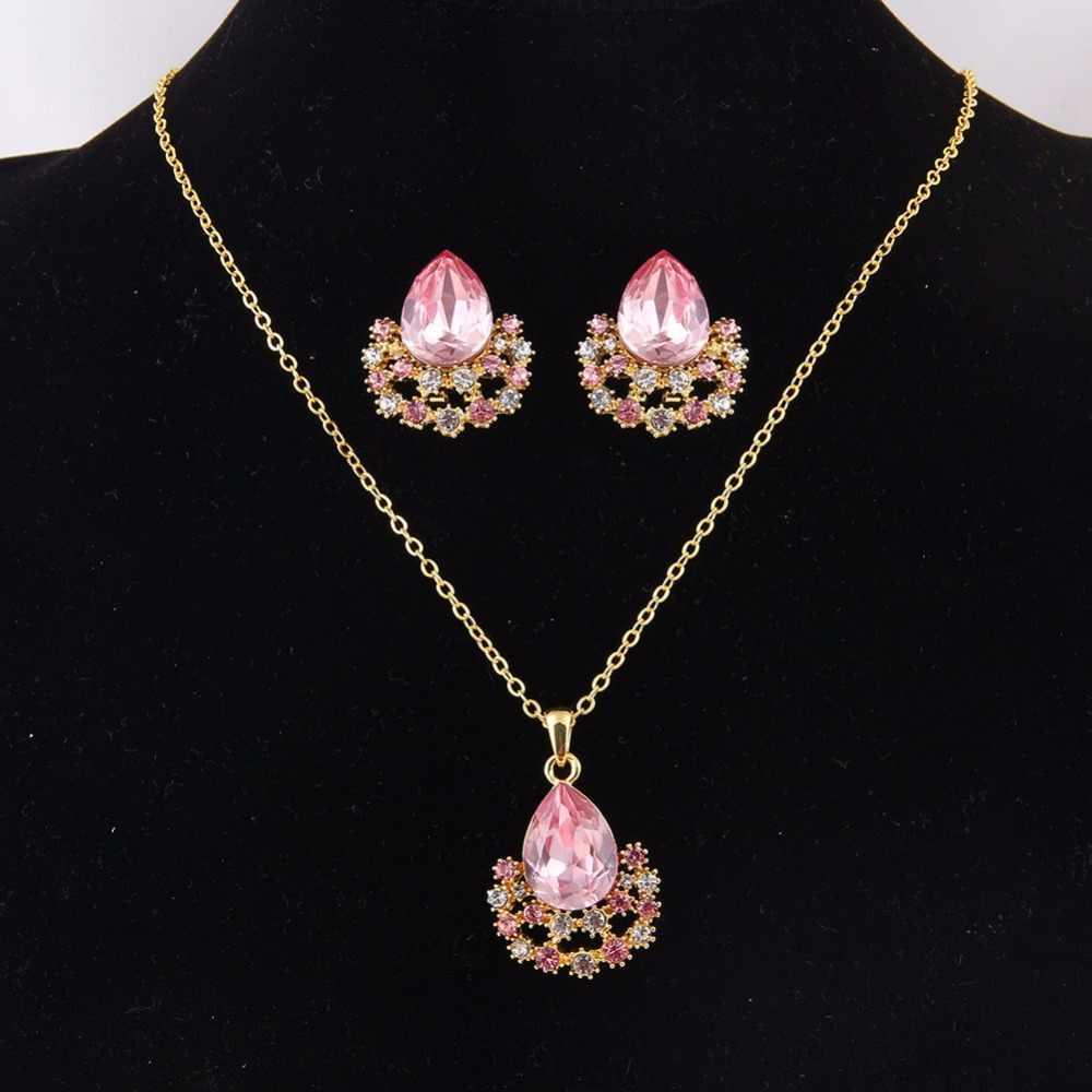 ERLUER conjuntos de joyas de color dorado mujeres niñas moda cristal austriaco Boda nupcial nigeriano africano fiesta collar pendientes regalos