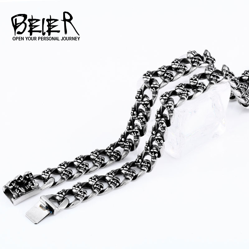 Beier new arrive 316L stainless steel Domineering 12.2mm Width Stainless Steel Punk Skull Chain Necklace High Quality BN1000