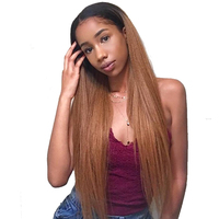 Странный прямо 1b/30 Ombre блондинка Синтетические волосы на кружеве человеческих волос парики 13X4 130% плотность красочные парики для Для женщин