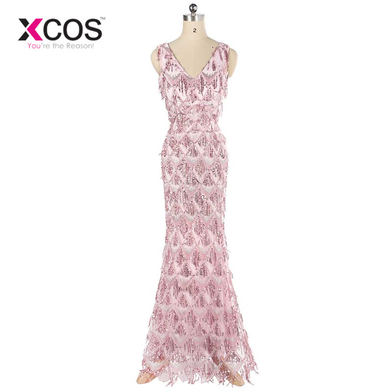 XCOS 2018 New Style Double V-neck Evening Dress vestido de festa Formal party dress Luxury Pink Long Sequin Prom Gowns