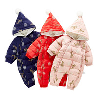 Russia Winter Baby Rompers New Born Baby Girls Boys Thick Down Baby Ropa Warm Outerwear For