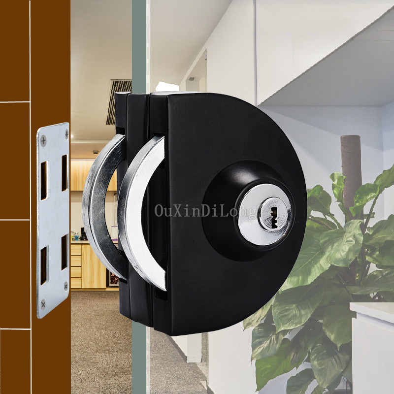 1PCS Black Frameless Glass Door Lock Stainless Steel Single Door Latch Lock for 10mm-12mm Glass With 3PCS Keys JF1796 special design frameless paintings hills print 3pcs