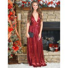 Женское вечернее платье с блестками розовое/Красное Длинное