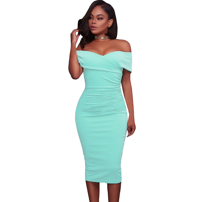 ADEWEL Women Sexy Off Shoulder Strapless Midi Dress Ruched Elegant Bodycon Dress Party Clubwear Pencil dress 33