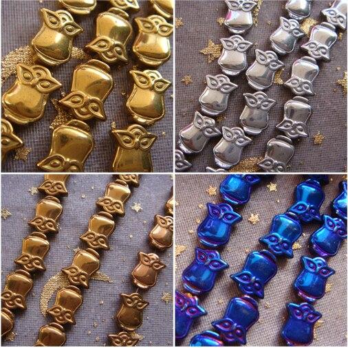 Nueva 40 unids lote 8x10mm oro plata azul cobrizo negro hematita piedra  búho Cuentas para la fabricación de la joyería 28a4b3cbaf46