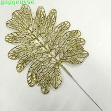 2019 christmas gold powder doll leaf artificial flower plastic plants decoration,33x19cm,50pcs