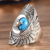 100% Real 925 Sterling Silver Ring with Natural Turquoises Hand Carved Eagle Wings Rings for Unisex Thai Silver Jewelry