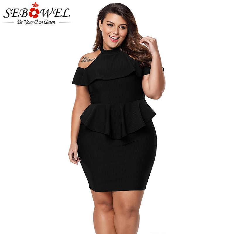 SEBOWEL Sexy Plus Size Black Off Shoulder Dress Women Elegant Peplum Bodycon  Party Dress Evening Gown 3eb542802073