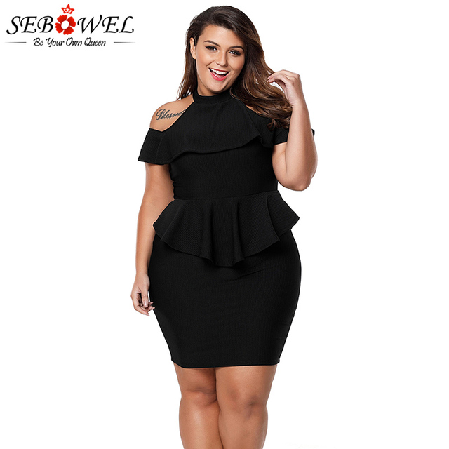 3c4e482368d SEBOWEL Sexy Plus Size Black Off Shoulder Dress Women Elegant Peplum  Bodycon Party Dress Evening Gown Big Size Summer Club Dress