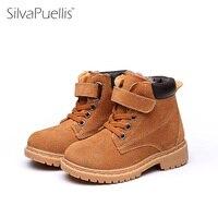 SilvaPuellis ילדי מגפי עור אמיתיים נעלי חורף חמות מגפי שלג קרסול ילדה ילד יוניסקס ילדי חורף בוהן עגול אתחול